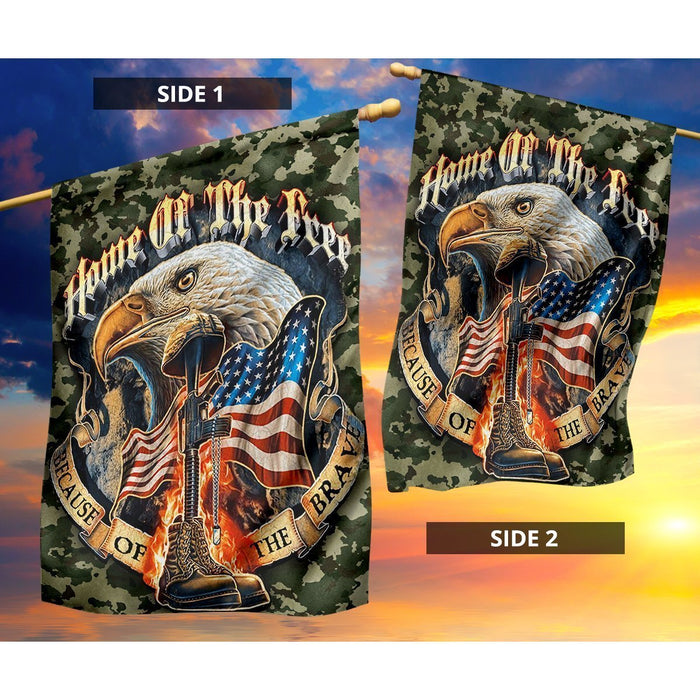 Home Of The Free Because Of The Brave Flag - GIFTCUSTOM