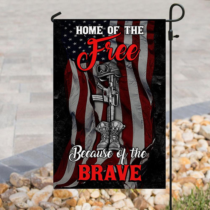 Home Of The Free Because Of The Brave Flag | Garden Flag | Double Sided House Flag - GIFTCUSTOM