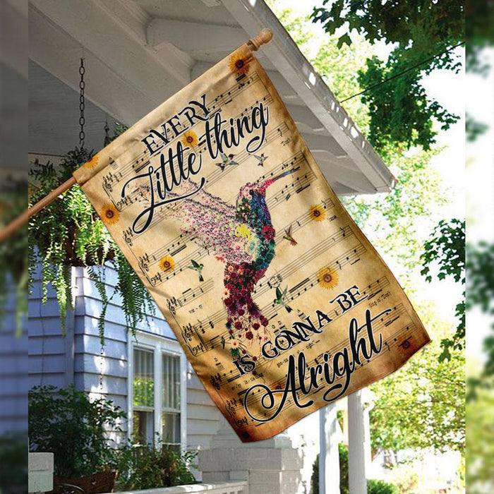 Hummingbird. Every Little Things Is Gonna Be Alright Flag | Garden Flag | Double Sided House Flag - GIFTCUSTOM