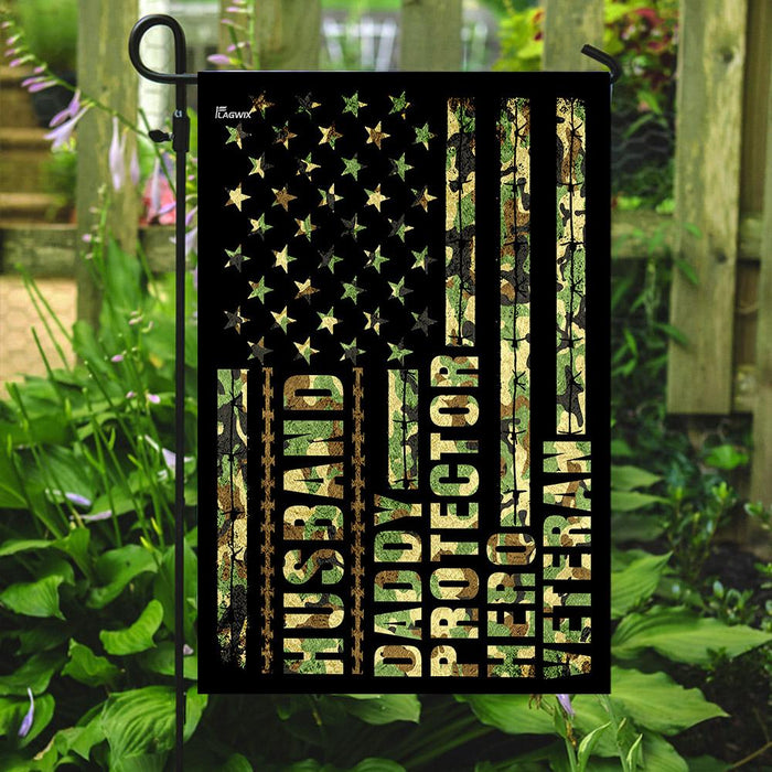 Husband, Daddy, Protector, Hero, Veteran Flag | Garden Flag | Double Sided House Flag - GIFTCUSTOM