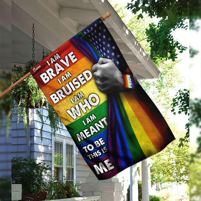 I Am Brave I Am Bruised LGBT Pride Flag | Garden Flag | Double Sided House Flag - GIFTCUSTOM