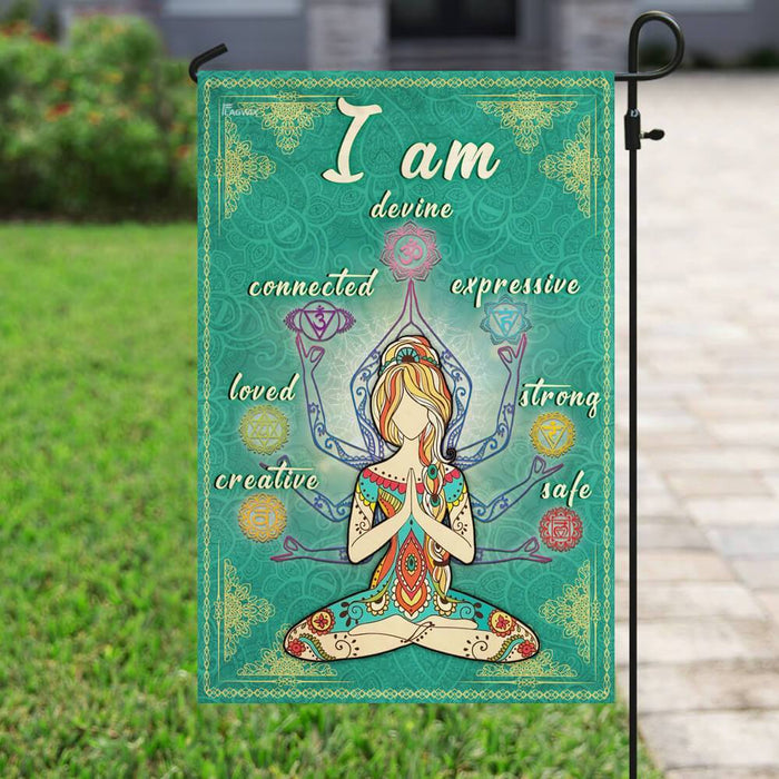 I Am Devine Connected Expressive Loved Strong Creative Safe Yoga Flag | Garden Flag | Double Sided House Flag - GIFTCUSTOM