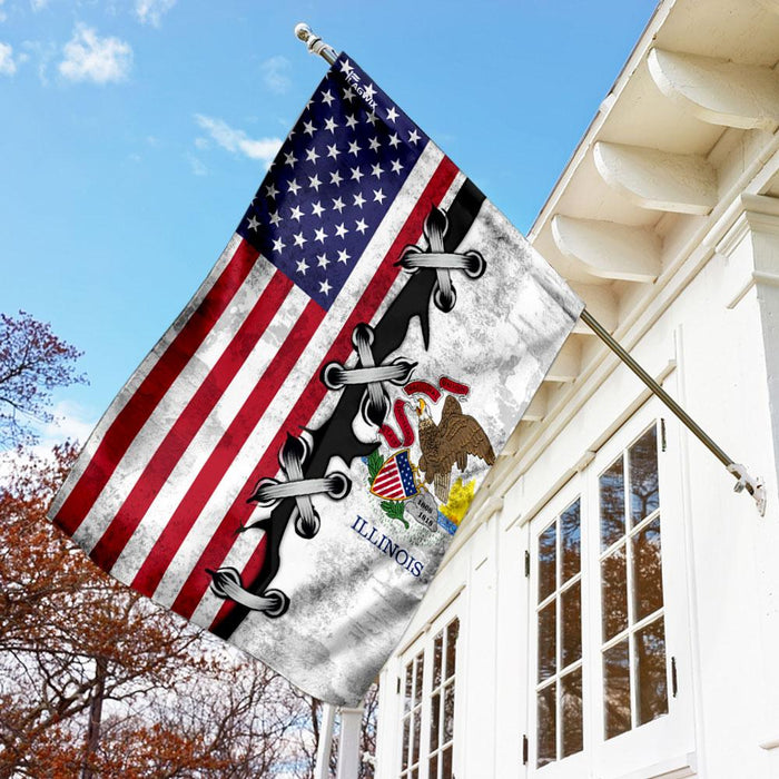 Illinois And American Flag | Garden Flag | Double Sided House Flag - GIFTCUSTOM