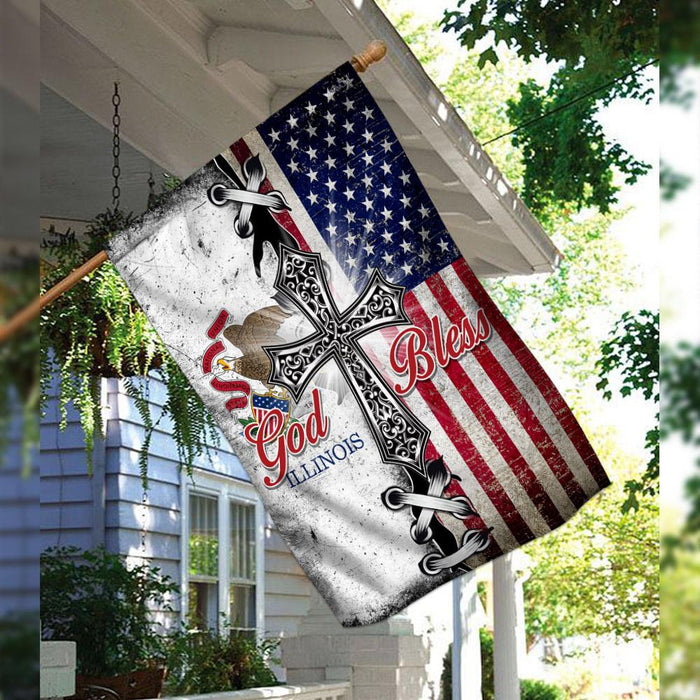 Illinois State American Christian Cross Flag | Garden Flag | Double Sided House Flag - GIFTCUSTOM
