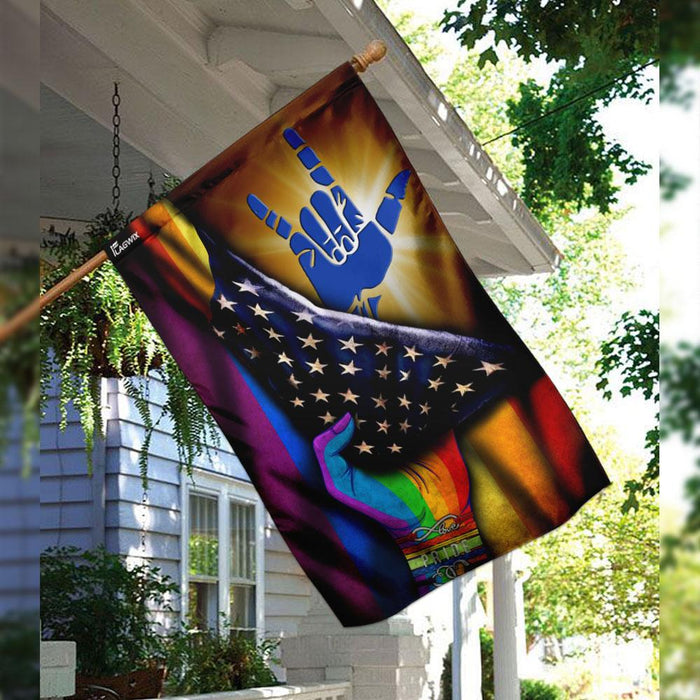 ILY Sign Language LGBT Pride Flag | Garden Flag | Double Sided House Flag - GIFTCUSTOM