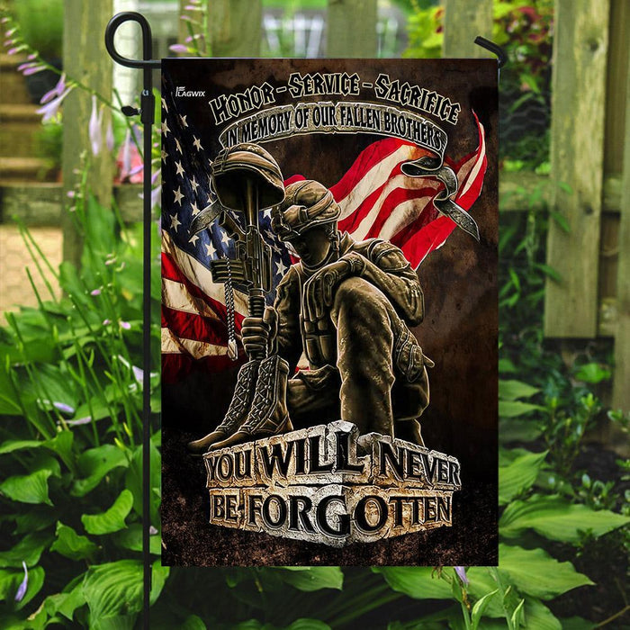 In Memory Of Our Fallen Brothers You Will Never Be Forgotten Veterans American Flag | Garden Flag | Double Sided House Flag - GIFTCUSTOM