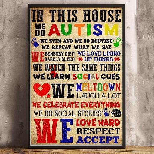 In this house we do autism print Canvas and Poster - GIFTCUSTOM