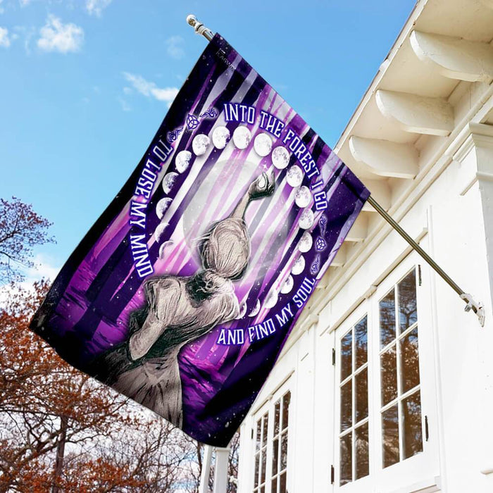 Into The Forest I Go Phases Of The Moon Flag | Garden Flag | Double Sided House Flag - GIFTCUSTOM