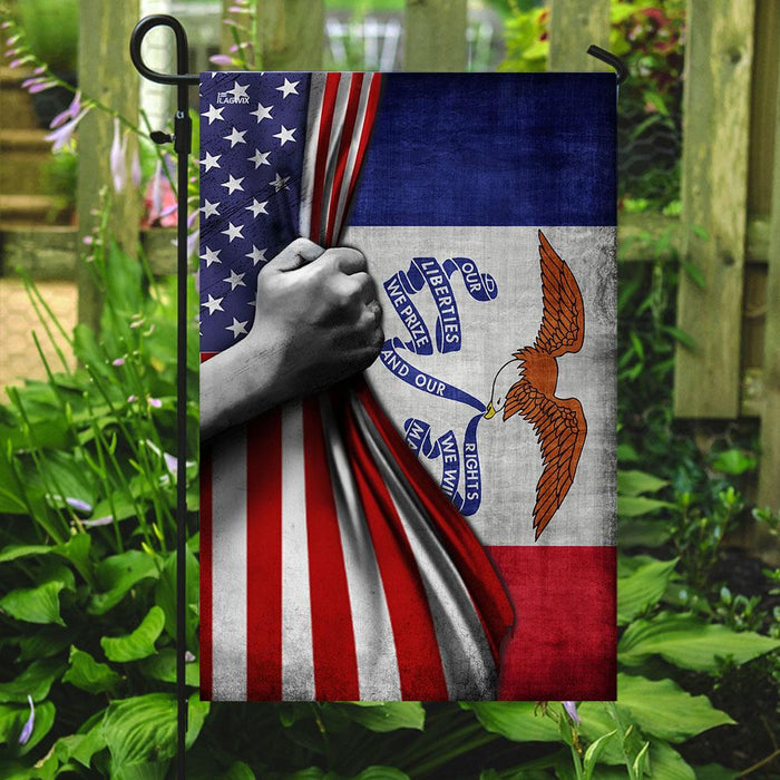 Iowa And American Flag | Garden Flag | Double Sided House Flag - GIFTCUSTOM