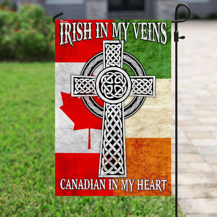 Irish In My Veins – Canadian In My Heart Flag | Garden Flag | Double Sided House Flag - GIFTCUSTOM
