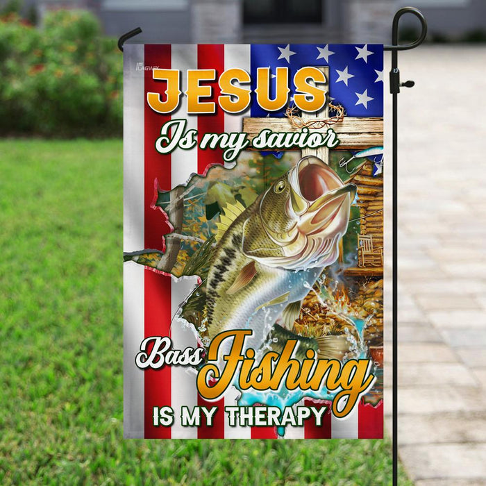 Jesus Is My Savior Bass Fishing Is My Therapy Flag | Garden Flag | Double Sided House Flag - GIFTCUSTOM