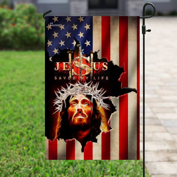 Jesus Saved My Life American Flag | Garden Flag | Double Sided House Flag - GIFTCUSTOM