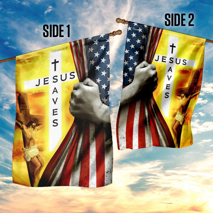 Jesus Saves Christian Flag - GIFTCUSTOM