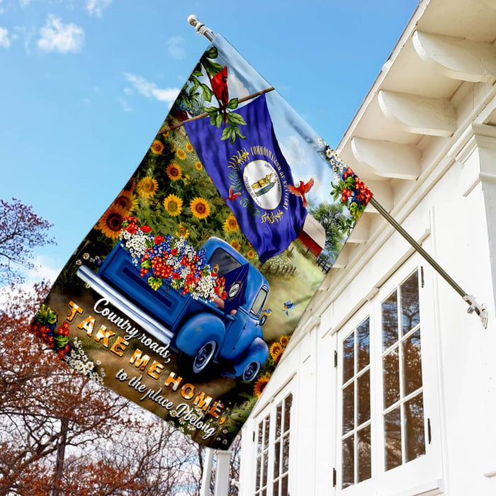 Kentucky Country Roads Flag | Garden Flag | Double Sided House Flag - GIFTCUSTOM