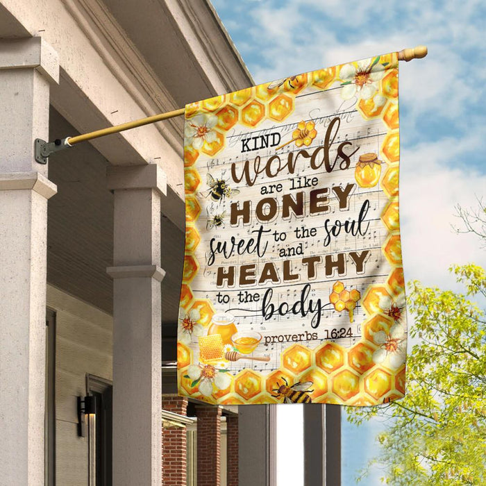 Kind Words Sweet To The Soul Honey Bee Flag | Garden Flag | Double Sided House Flag - GIFTCUSTOM