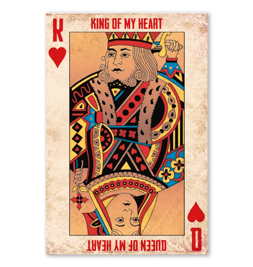 KING OF MY HEART QUEEN OF MY HEART, Gift For couple, all size poster, Special Gift For her, king queen poster - GIFTCUSTOM