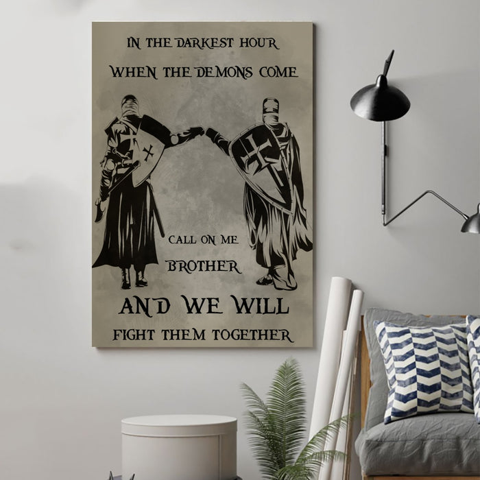 knight templar Canvas and Poster ��� call on me brother wall decor visual art - GIFTCUSTOM