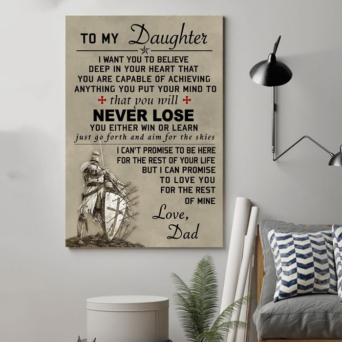 Knight templar Canvas and Poster ��� Dad to daughter ��� Never lose wall decor visual art - GIFTCUSTOM