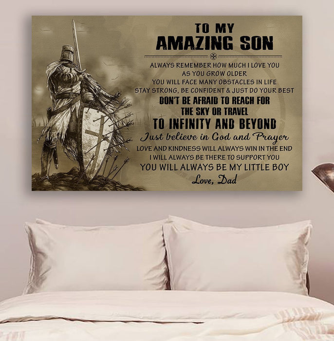 Knight templar Canvas and Poster ��� Dad to son ��� Always remember wall decor visual art - GIFTCUSTOM