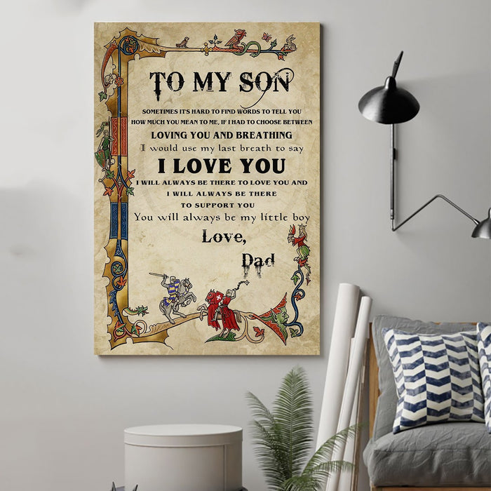 Knight templar Canvas and Poster ��� Dad to son ��� I love you wall decor visual art - GIFTCUSTOM