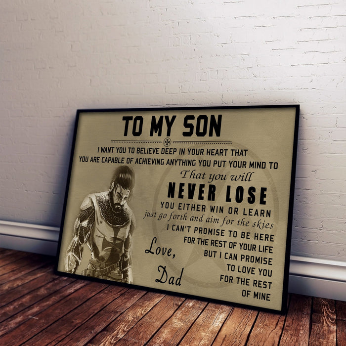 Knight templar Canvas and Poster ��� dad to son ��� never lose wall decor visual art - GIFTCUSTOM