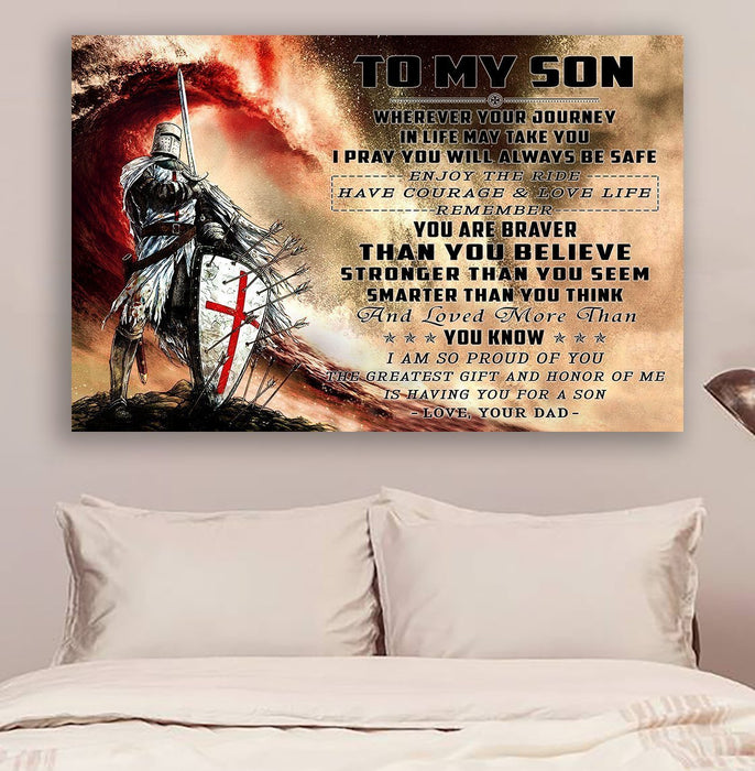 Knight templar Canvas and Poster | Dad to Son | Wherever your journey v2 | wall decor visual art - GIFTCUSTOM
