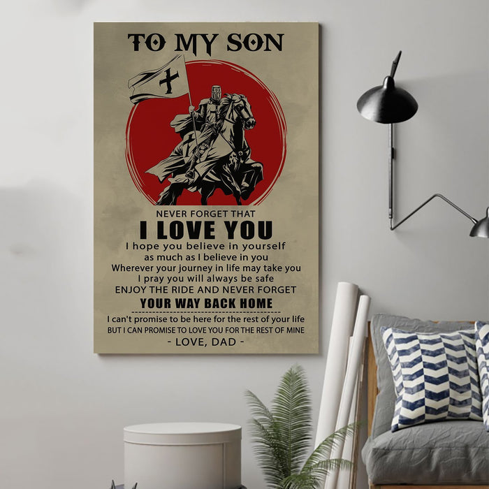 Knight templar Canvas and Poster ��� Dad to son ��� Your way back home wall decor visual art - GIFTCUSTOM