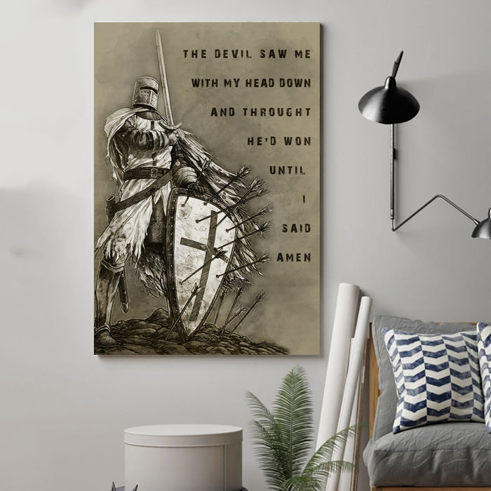 knight templar Canvas and Poster ��� i said amen wall decor visual art - GIFTCUSTOM