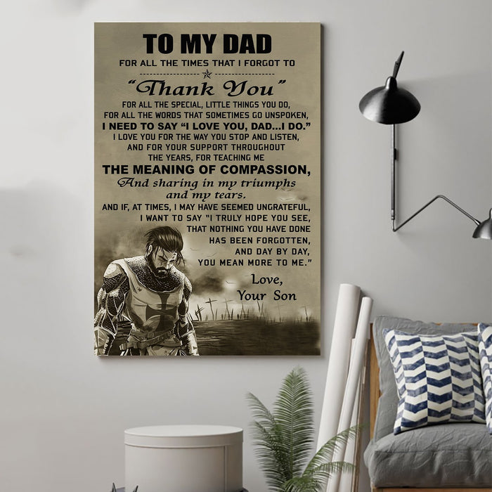 Knight templar Canvas and Poster ��� Son to Dad ��� Thank you wall decor visual art - GIFTCUSTOM