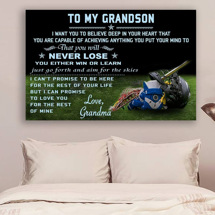 Lacrosse Canvas and Poster ��� grandma to grandson ��� never lose wall decor visual art - GIFTCUSTOM