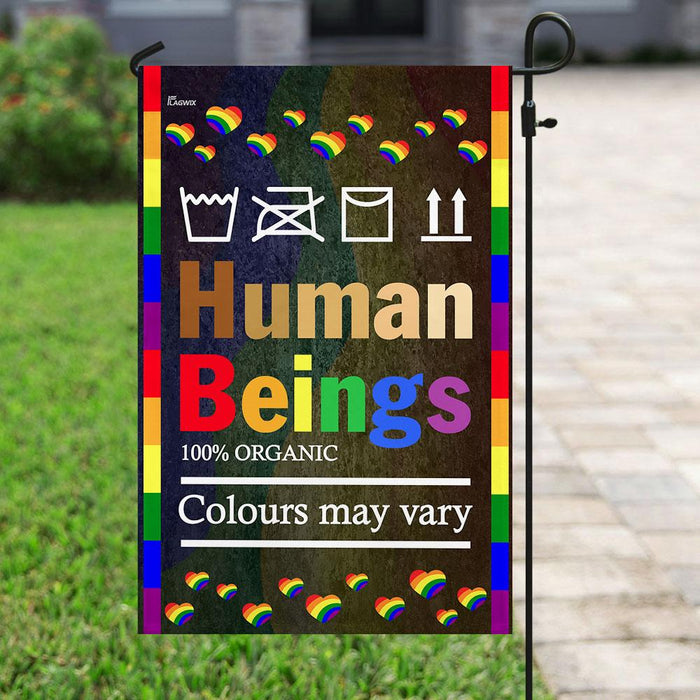 LGBT Human Beings 100% Organic Colours May Vary Flag | Garden Flag | Double Sided House Flag - GIFTCUSTOM