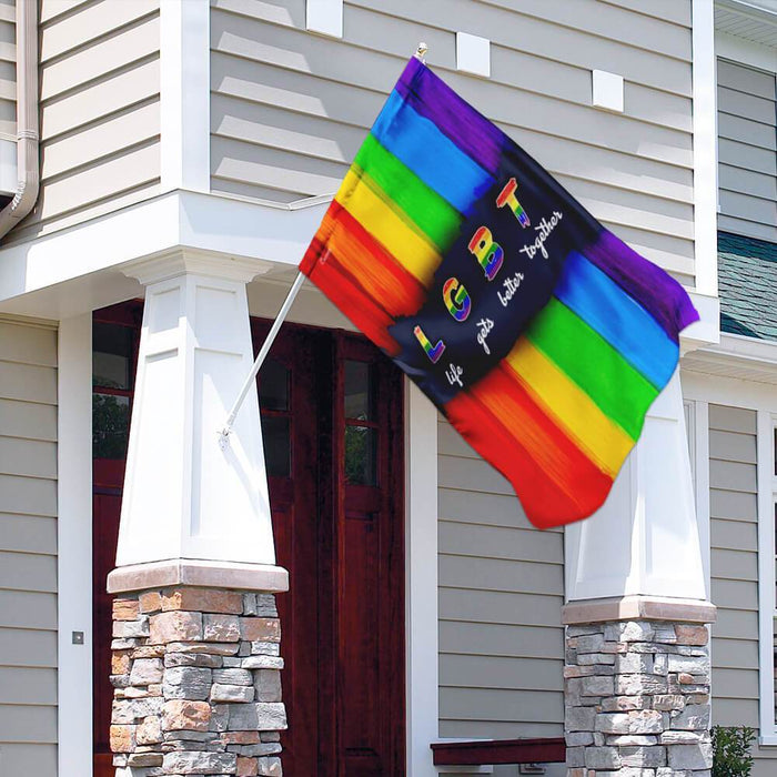 LGBT Life Gets Better Together | Garden Flag | Double Sided House Flag - GIFTCUSTOM