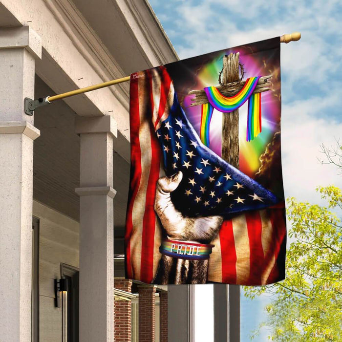 LGBT Pride Christian Cross Flag | Garden Flag | Double Sided House Flag - GIFTCUSTOM