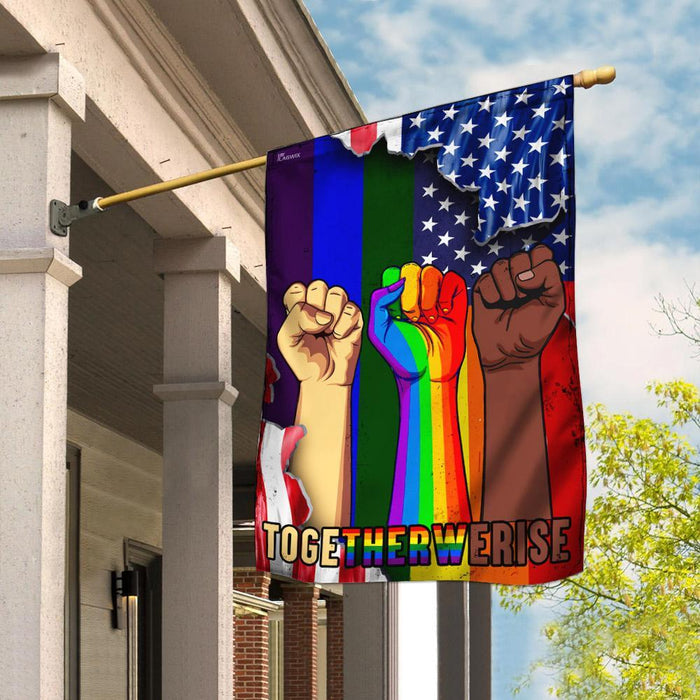 LGBT Together We Rise Flag | Garden Flag | Double Sided House Flag - GIFTCUSTOM