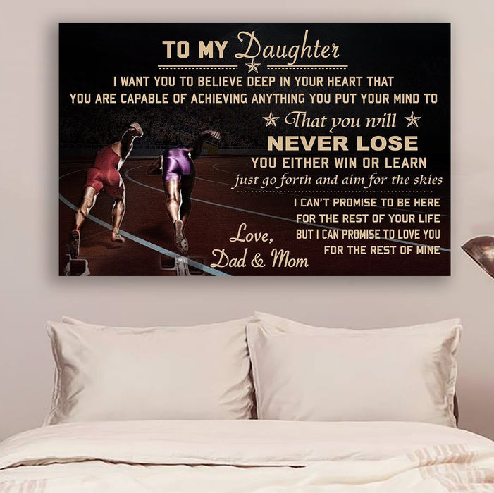 LH Athletics Canvas and Poster ��� Dad&Mom to daughter ��� never lose wall decor visual art - GIFTCUSTOM