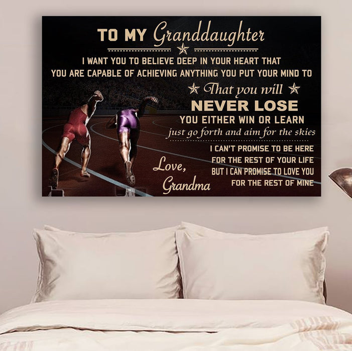 LH Athletics Canvas and Poster ��� grandma to granddaughter ��� never lose wall decor visual art - GIFTCUSTOM