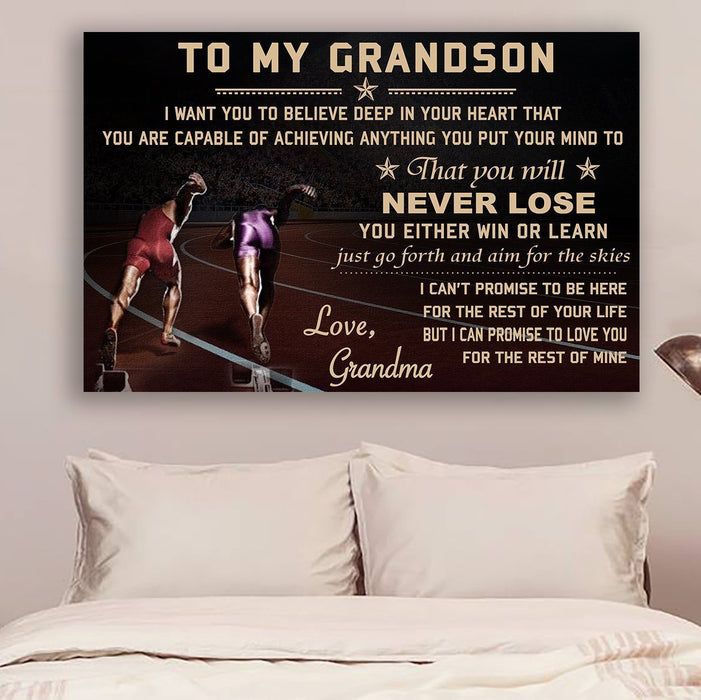 LH Athletics Canvas and Poster ��� grandma to grandson ��� never lose wall decor visual art - GIFTCUSTOM