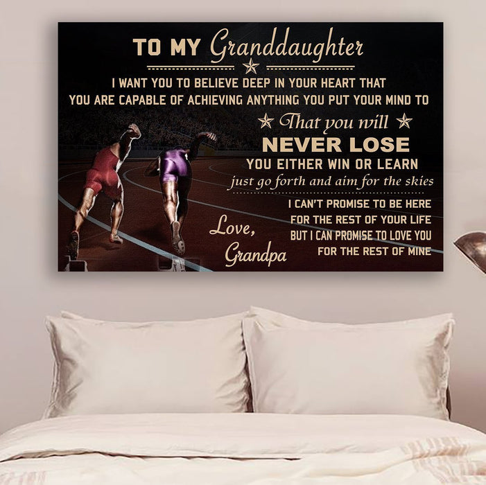 LH Athletics Canvas and Poster ��� grandpa to granddaughter ��� never lose wall decor visual art - GIFTCUSTOM