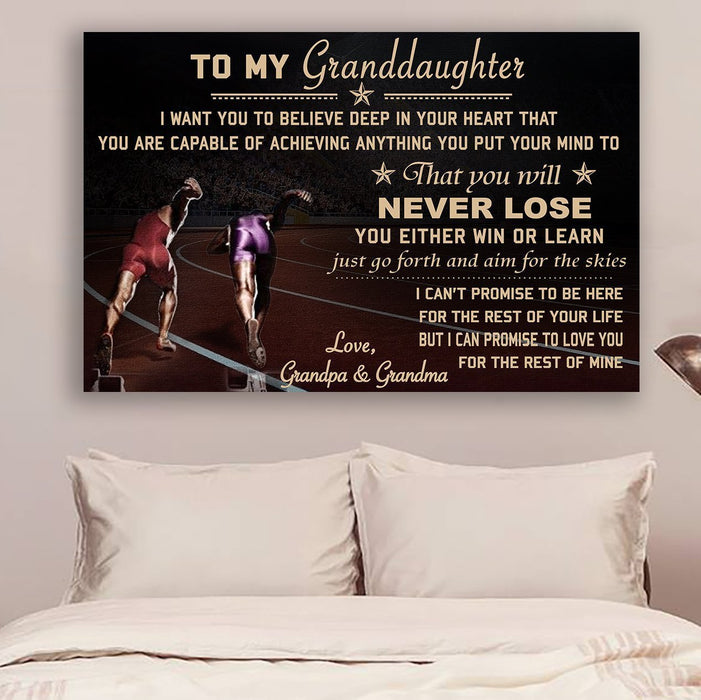 LH Athletics Canvas and Poster ��� grandpa&grandma to granddaughter ��� never lose wall decor visual art - GIFTCUSTOM