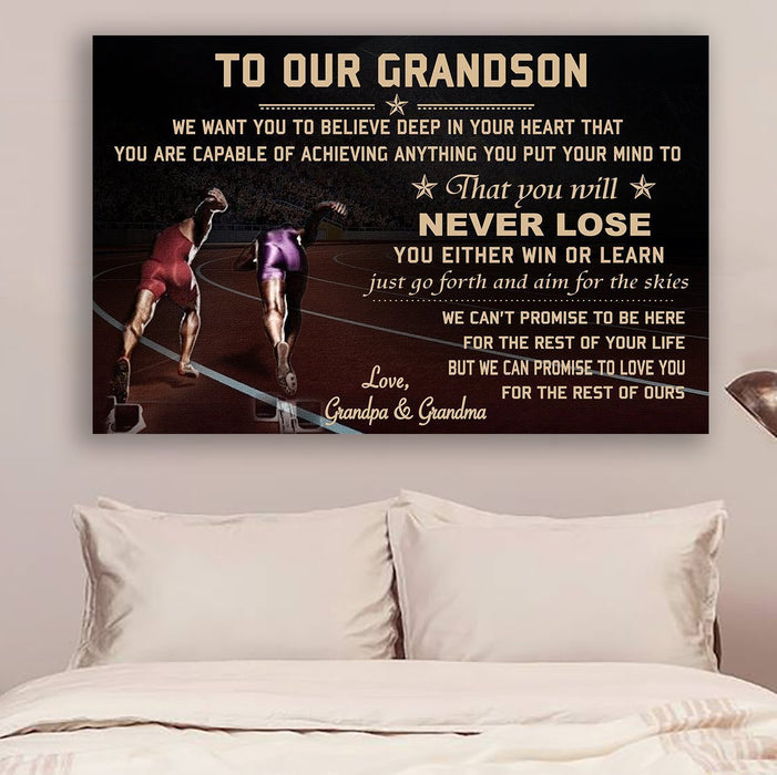 LH Athletics Canvas and Poster ��� grandpa&grandma to grandson ��� never lose wall decor visual art - GIFTCUSTOM