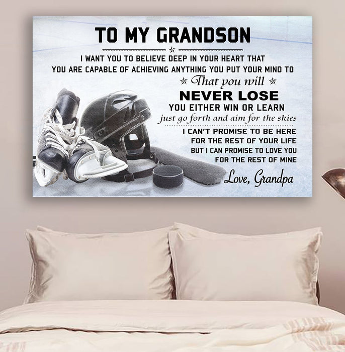 LH hockey Canvas and Poster ��� grandpa to grandson ��� never lose wall decor visual art - GIFTCUSTOM