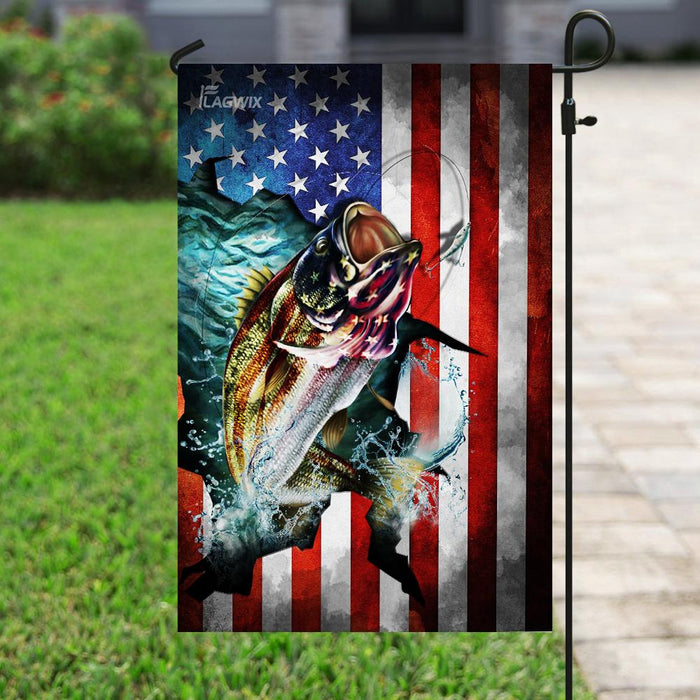 Love Fishing America Flag | Garden Flag | Double Sided House Flag - GIFTCUSTOM