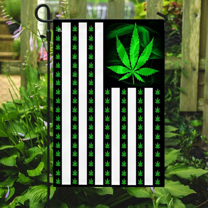 Marijuana Leaf American Flag | Garden Flag | Double Sided House Flag - GIFTCUSTOM