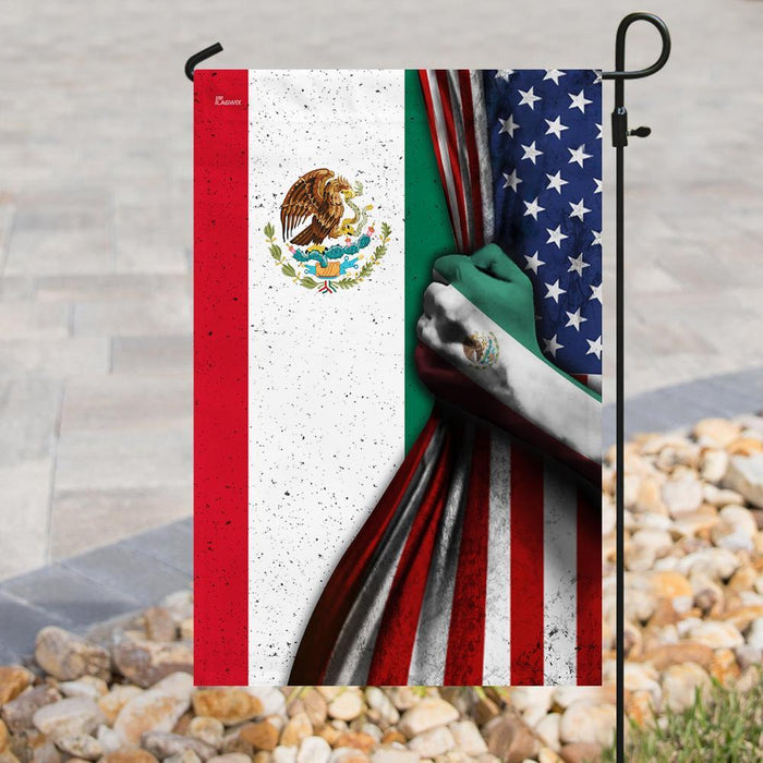 Mexican American Flag | Garden Flag | Double Sided House Flag - GIFTCUSTOM