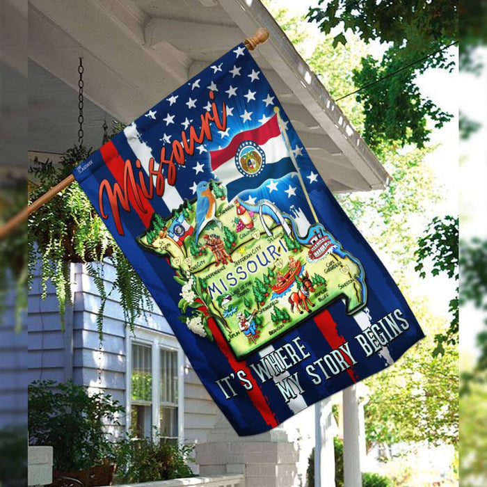 Missouri. It's Where My Story Begins Flag | Garden Flag | Double Sided House Flag - GIFTCUSTOM