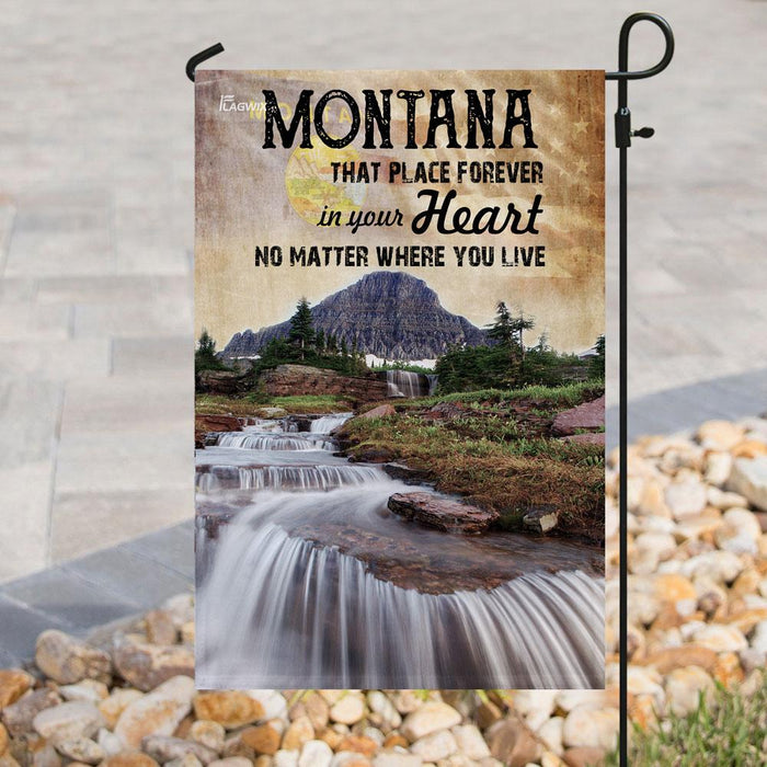 Montana Forever In Your Heart Flag | Garden Flag | Double Sided House Flag - GIFTCUSTOM