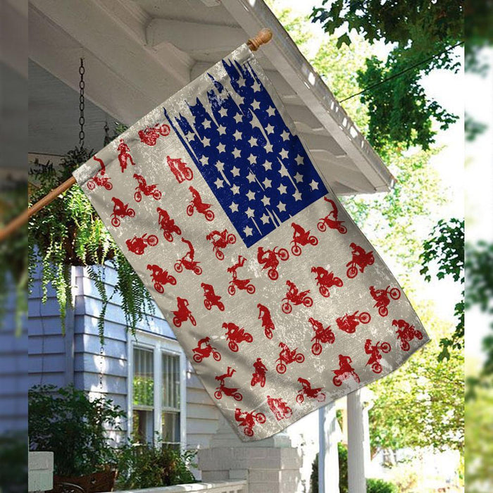 Motocross American US Flag | Garden Flag | Double Sided House Flag - GIFTCUSTOM