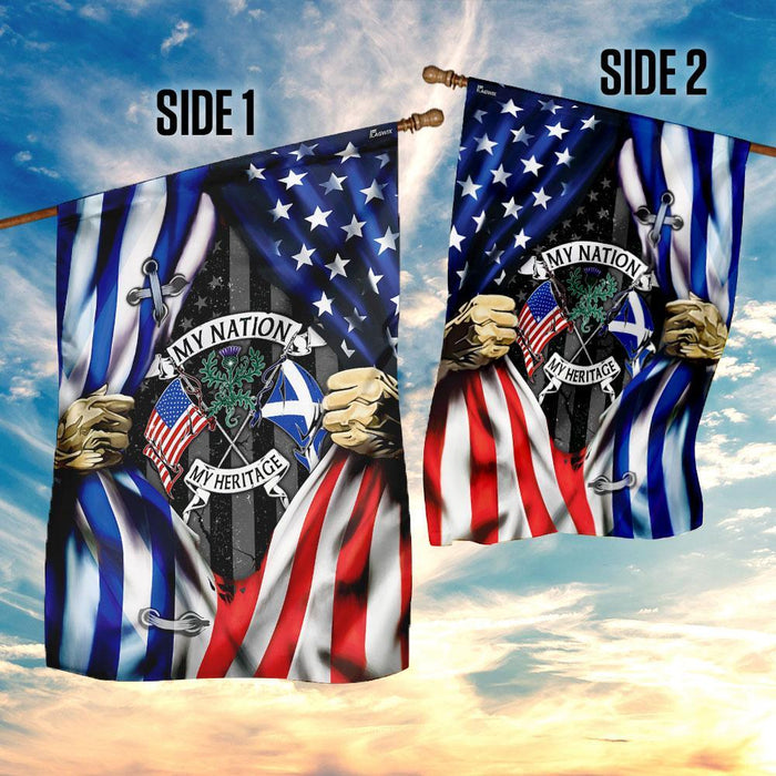 My Nation My Heritage ��� Scotland And American Flag | Garden Flag | Double Sided House Flag - GIFTCUSTOM