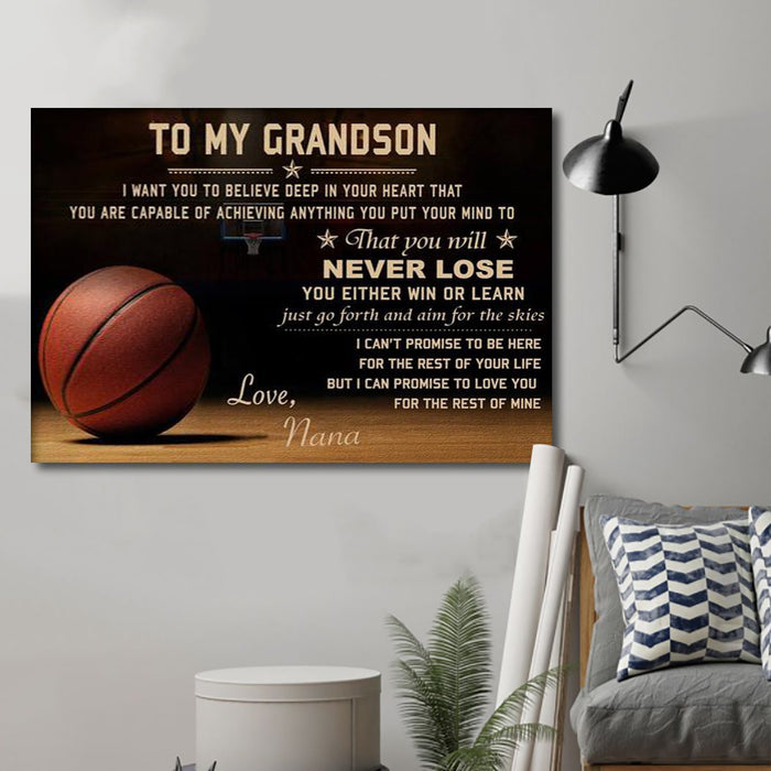 Nana To my Grandson Canvas and Poster wall decor visual art - GIFTCUSTOM