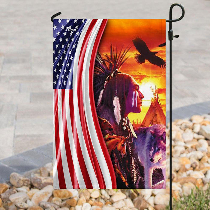 Natives Of The Lands American Flag | Garden Flag | Double Sided House Flag - GIFTCUSTOM